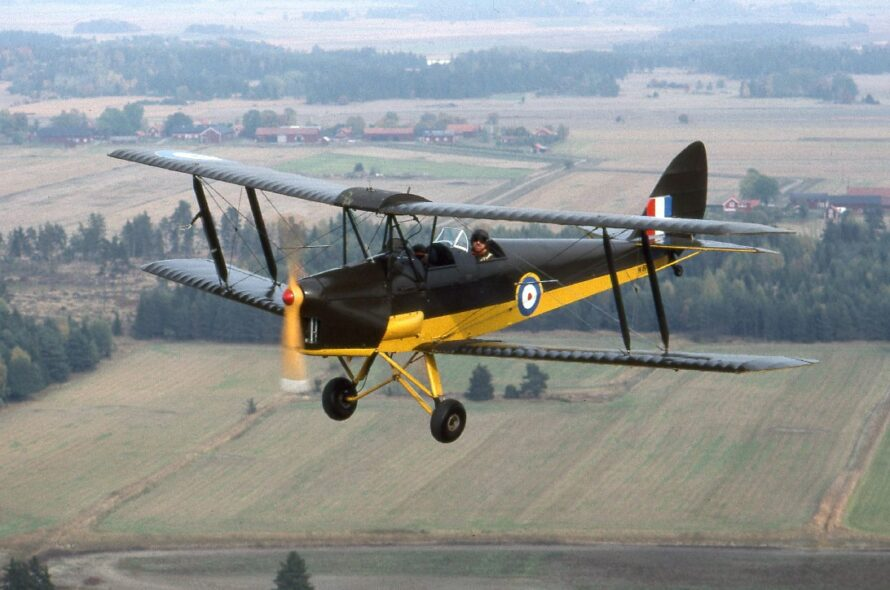 Tiger Moth arriving on Stewart Island 90 years later the first flight landed