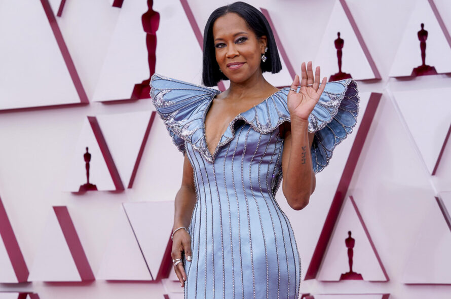 Regina King dazes in plunging blue butterfly gown at Oscars 2021